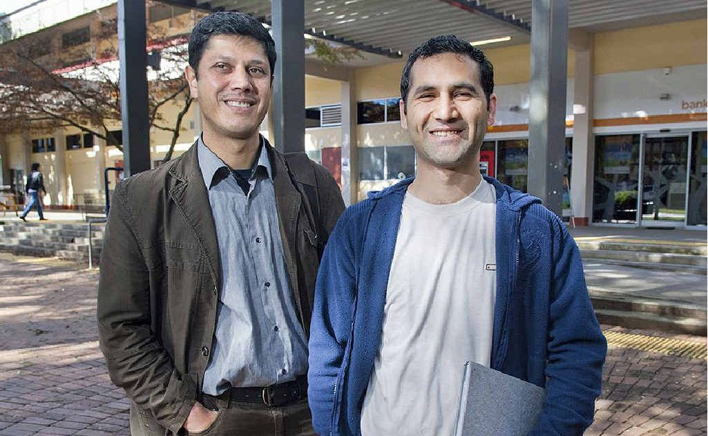 USQ Springfield campus's first Afghan students, Ismail Najeeb and Hafizullah Afzaly.