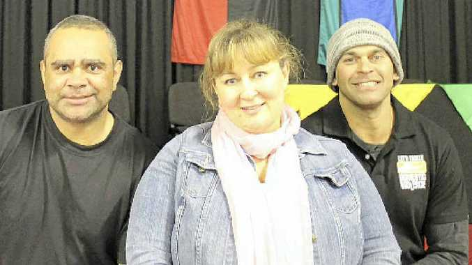 Nathan Blacklock, Ashlee Donohue and David Peachey from Let's Tackle Domestic Violence spoke at the Sistas On About Resilience dinner at Goonellebah last Friday.