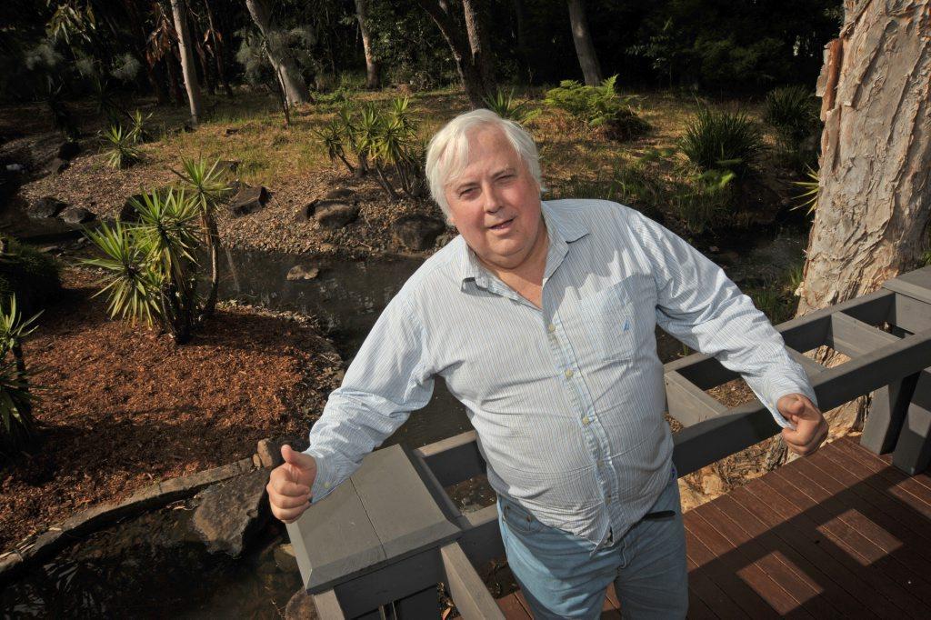 Clive Palmer addresses media at the Palmer Coolum Resort.
