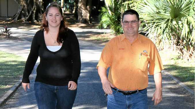 Having given up alcohol as part of Dry July, Krystal Shaw and her father Ray Shaw step out for a walk. The annual event raises money and awareness for cancer by encouraging people to avoid drinking alcohol for a month.