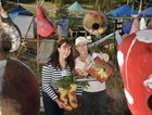 Anne Gibson (left) and Cath Manuel at the kitchen garden display at the Queensland Garden Expo.
