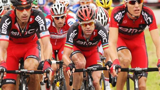 Cadel Evans of Australia and the BMC Racing team rides in the peloton during stage three of the 2012 Tour de France from Orchies to Boulogne-sur-Mer.