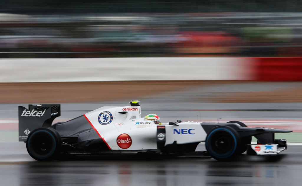 Sergio Perez of Mexico and Sauber F1 drives during practice for the British Grand Prix at Silverstone Circuit