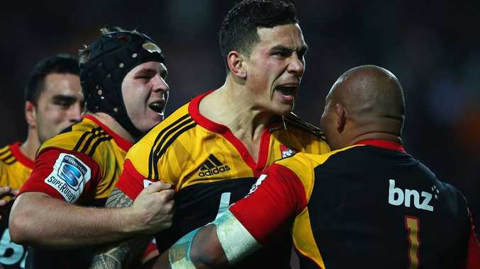 Sonny Bill Williams of the Chiefs celebrates after scoring a try during the round 17 Super Rugby match between the Chiefs and the Crusaders