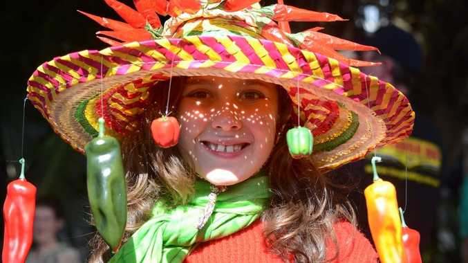Winner of the best hat and the most colourful costume is Sophie Dunn at the Sawtell Chillifest.