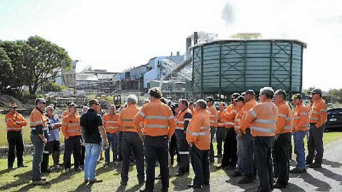 Workers meeting with union representatives, who say Bundaberg Sugar's offer is unacceptable.