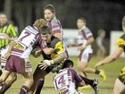 Caboolture forward Chris Boss makes a strong run in the 14-14 draw with Kawana.