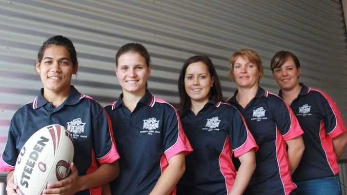 READY TO GO: Representative players Chantelle Dodd (left), Elle Moss, Letecia Allwood, Nicole Richards and Amy Bock could play in a women's rugby league competition in the South-West.