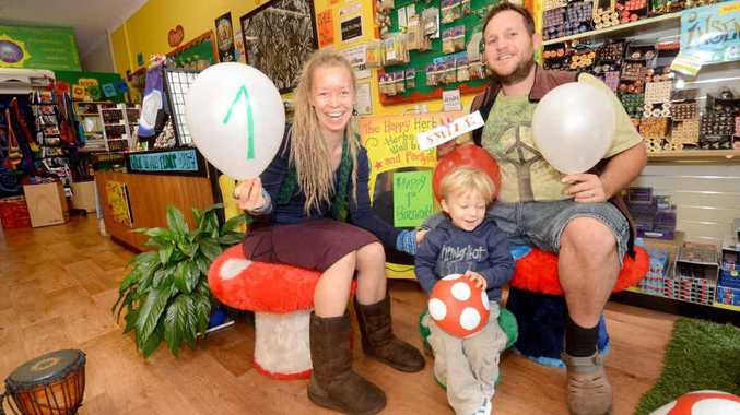 Jonny, Sand and Ario Mew from the Happy Herb Shop are celebrating their first birthday and invite customers to join in. Photo: Leigh Jensen