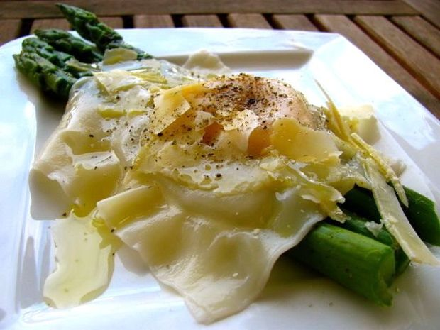 Miss Foodie's egg yolk ravioli with asparagus, truffle oil and parmesan cheese.