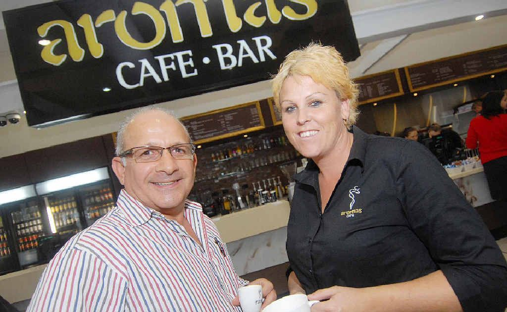 Aromas director and franchisee Andrew Skarparis and manager Dominic Bales were kept busy as their new cafe and bar opened in Mackay Airport's departure lounge yesterday.