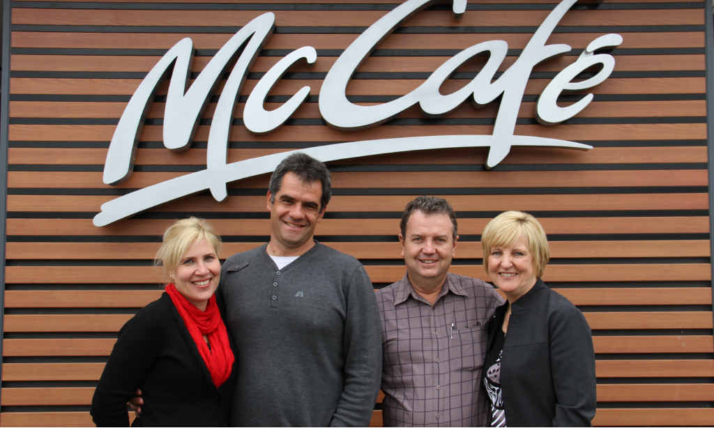 Gramae Pagel and Edward Salzwedel (left) are taking over ownership of Emerald's McDonald's restaurant from long-time owners Jeff and Leanne Watkins.