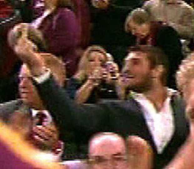 Dave Taylor gives the one-finger salute at the Origin decider.