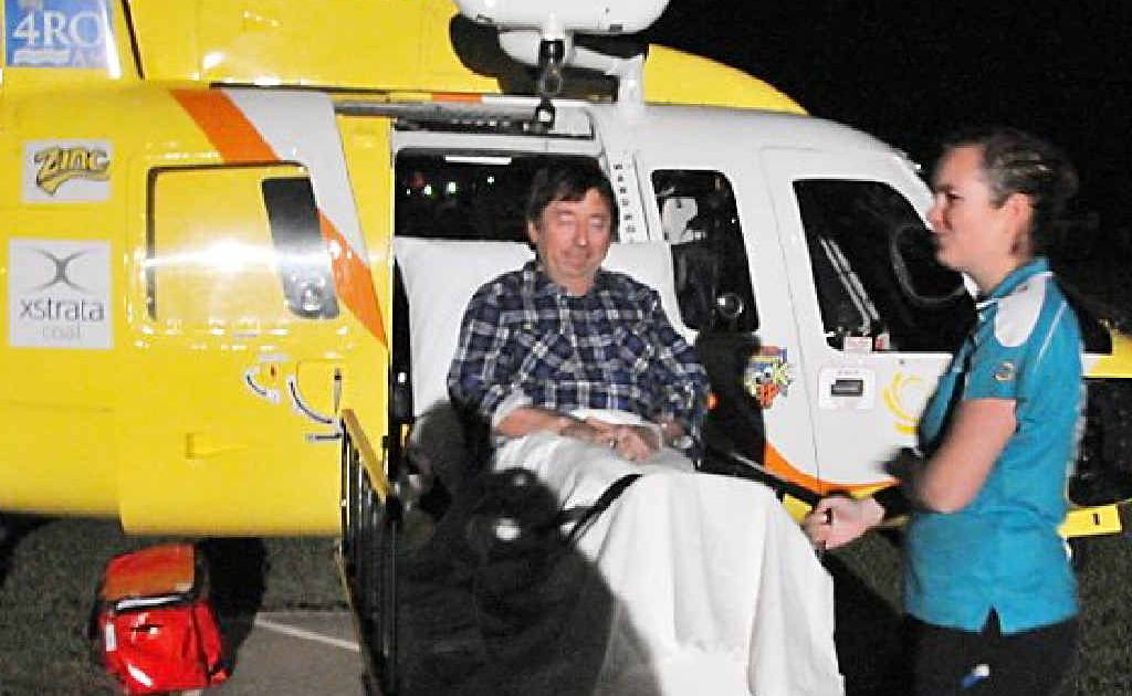 The RACQ Capricorn Helicopter Rescue Service team flew out a man who accidentally stabbed himself while pigging.