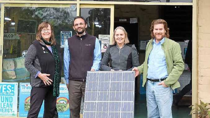 SUSTAINABLE VIEW: Greens number-two candidate for the Lismore Council election Sue Stock with Paul O'Reilly from the Rainbow Power Company, NSW Greens Senator Lee Rhiannon and John Davis from the Rainbow Power Company.Picture: Courtesy of The Nimbin Good Times