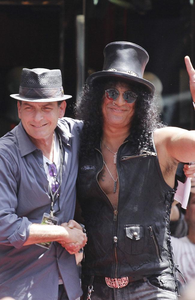 Charlie Sheen and Slash at the Hollywood Walk of Fame ceremony.