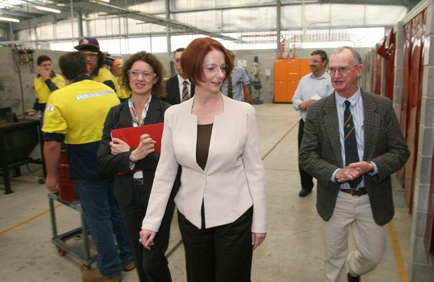 Prime Minister Julia Gillard and local member Kirsten Livermore in the new manual arts block at Rockhampton High School.