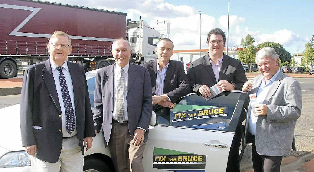 Bruce Highway Action Group members Paul Neville, Warren Truss, Darren Chester, George Christensen and Ken O'Dowd in Childers yesterday.
