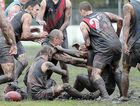 Tempers flare in the muddy conditions during the clash between the Bombers and Bay Power.