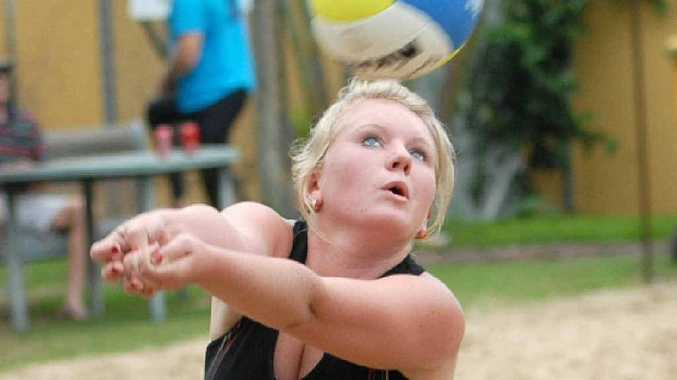 Daneile Ganly from Townsville in action during a competiton at City Beach Volleyball.