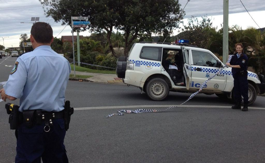 Police close off Tamarind Ave at Cabarita Beach after a serious skateboarding accident late Saturday night.