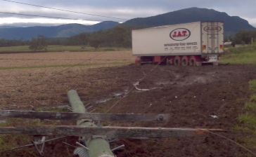 A truck that hit a power pole has left residents with no electricity.