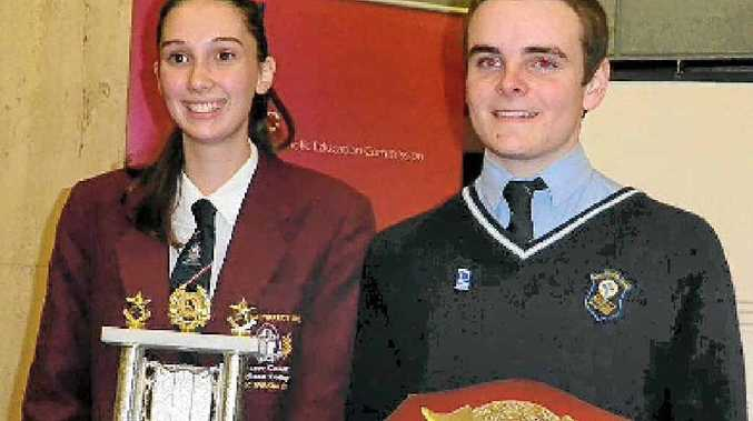 State Rostrum Voice of Youth winner Patrick Connolly (right), of St Patrick's College, Gympie, with runner-up Sophie Butler, of Fraser Coast College.