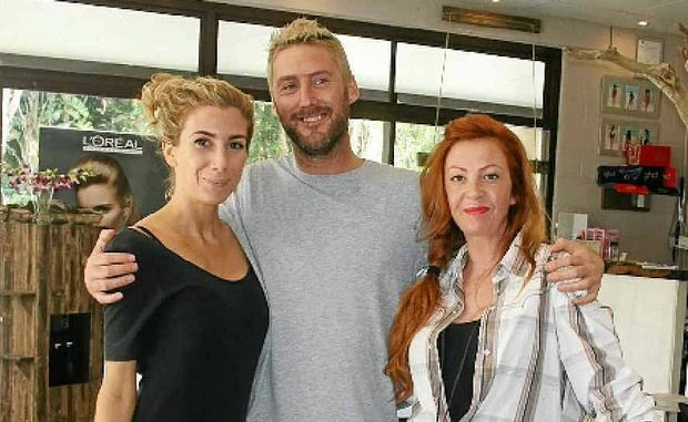 FUZZY FEELING: Claire Goad, Andy James and Elisa Lang, from Fuz Hair Salon, have organised a pink pamper day on July 26 to raise money for the Byron Bay Breast Cancer Support Group.