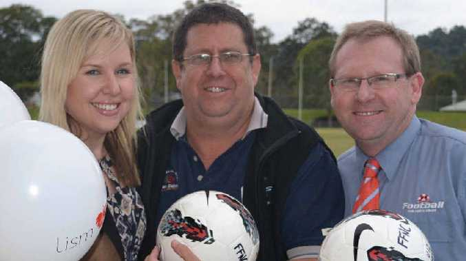 Lismore City Centre manager Katie O'Rourke, Lismore City Council events organiser John Bancroft and Football Far North Coast general manager Steve Mackney yesterday after revealing details of the Melbourne Heart's visit next month.