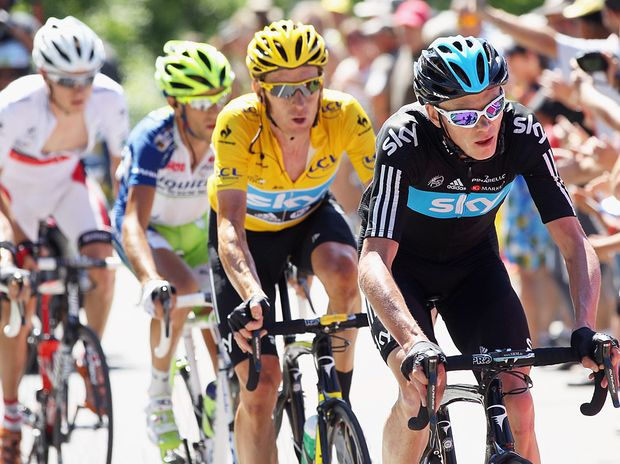 Bradley Wiggins on route to retaining the yellow jersey during stage 16 of the 2012 Tour de France.