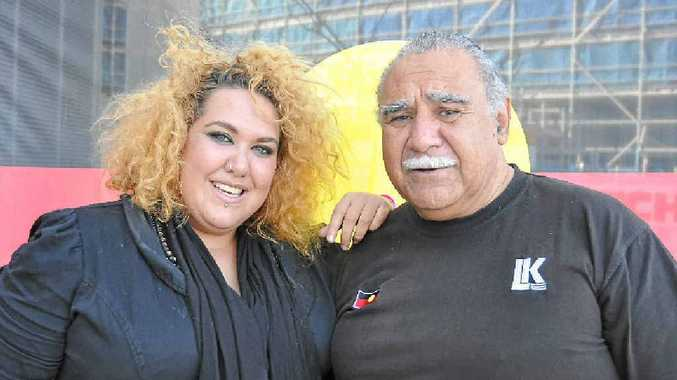 IDOLS: Casey Donovan and Michael Anderson visit Southern Cross University for NAIDOC celebrations.