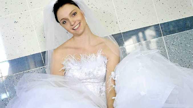 Kimberly Hegedus at Gladstone Bridal wearing Airs & Graces Gossamer.