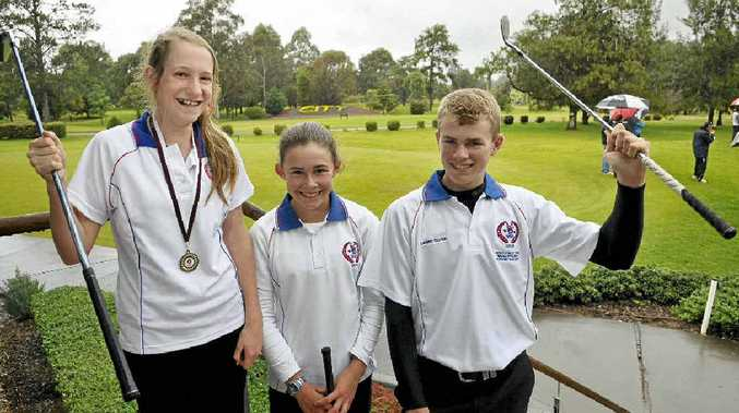 Toowoomba golfers Jordyn Mahony (left), Darcy Habgood and Lawrie Flynn celebrate their good performances in this year's Queensland School Sport 12-19 years Golf Championships.