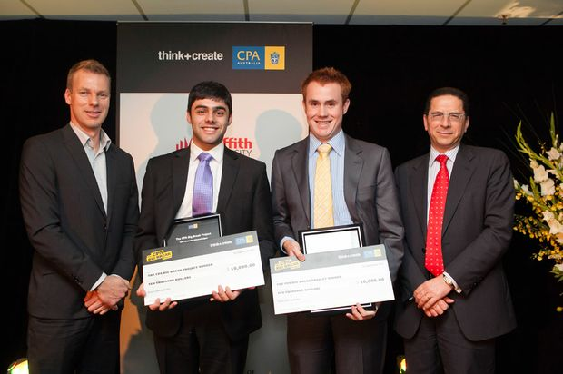 (left to right) The Big Issue National Business Manager Tim Dempster with 2011 CPA Big Break Project winners Ben Abraham and Matthew Dawson and CPA Australia CEO Alex Malley.
