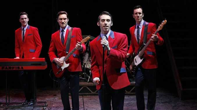 The lead cast of Jersey Boys performing in Brisbane, from left, Declan Egan, Anthony Harkin, Dion Bilios and Glaston Toft.