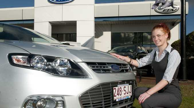 Jasmine Waite from Southern Cross Ford gets a closer look at Toowoomba's favourite car, the Ford Falcon.