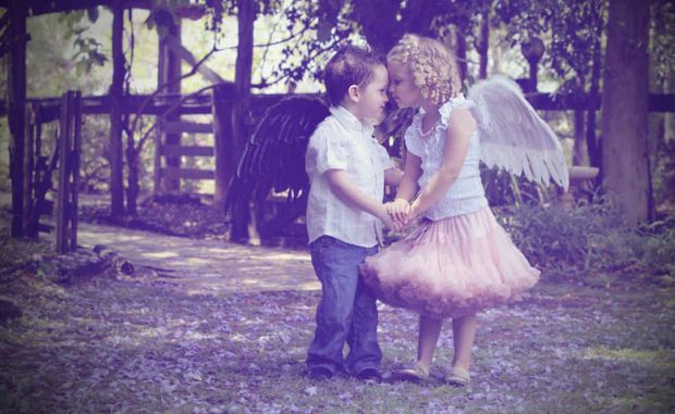 Twins Sam and Amelia Piggott don fairy wings for a photo shoot with Mulberry Photo Art.