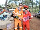 Brad and Stacey Allan from Calliope prepare to jam in Rockhampton yesterday as they near the Endeavour Rally finish line.