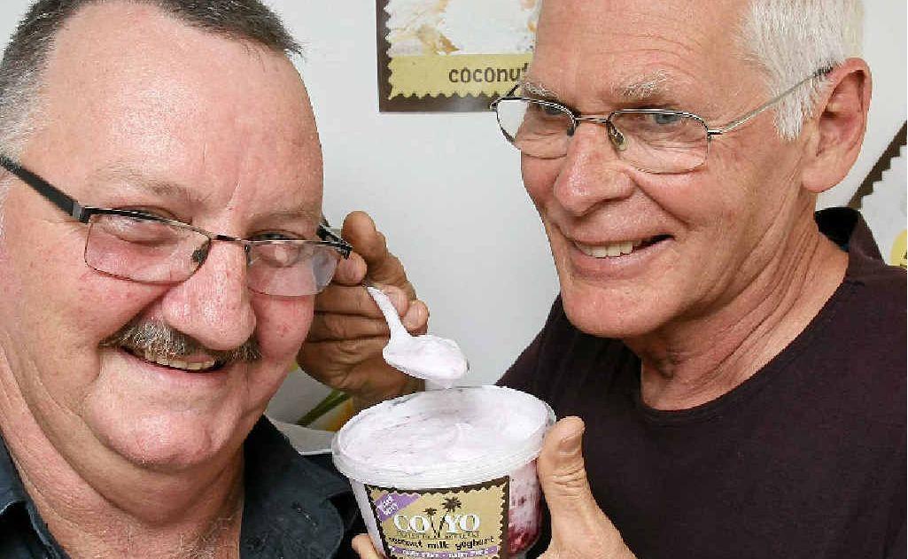 Co Yo business partners Dennis Teichmann (L) and Henry Gosling enjoy the coconut yoghurt on its own.