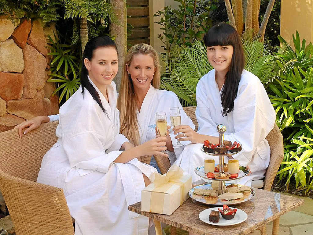 Noosa Springs Golf and Spa Resort spa parties and high tea are popular.