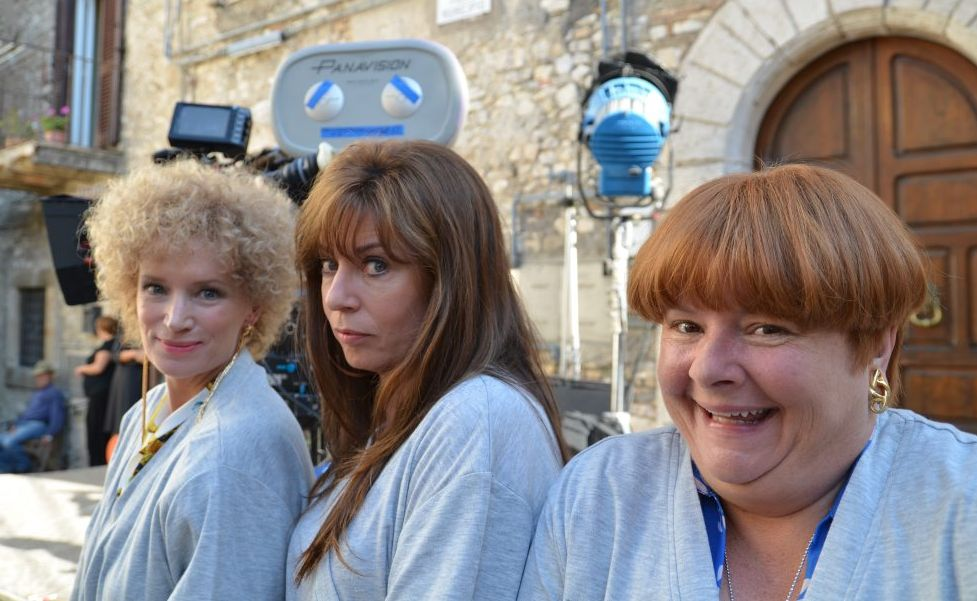 From left, Jane Turner, Gina Riley and Magda Szubanski in a behind the scenes shot from the movie Kath and Kimderella.