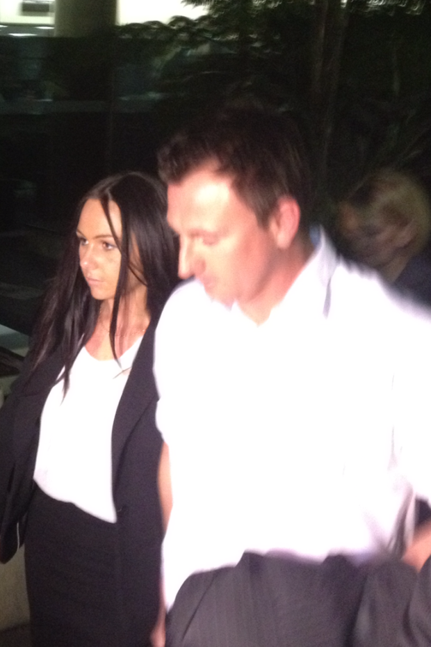 Nathan Baggaley and his fiancée leaving Brisbane Supreme Court.