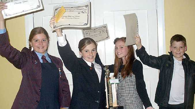 The four major winners of the Speech and Drama bursaries at May's eisteddfod are (from left) Isabel Fitton, Sophie Johnson, Katherine Spalding and Toby Thelander.