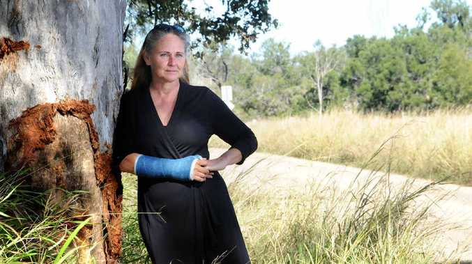 Liz Hutchinson at the accident site on Spencer Rd, near Kilkivan.