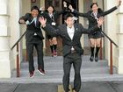 Japanese students greeted