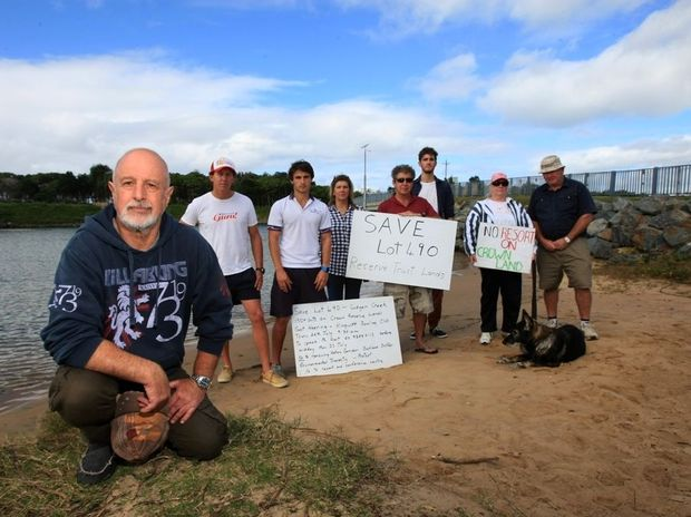 United: Jerry Cornford with supporters at Cudgen Creek who are protesting about the proposed Lot 490 development.