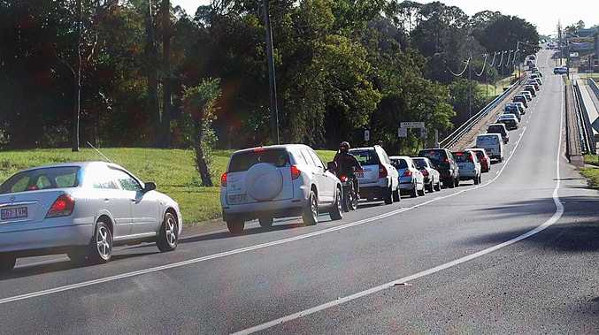Peak hour traffic this morning was backed up for more than a kilometre.