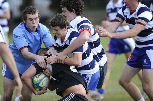 Grafton High (horizontal stripes) play John Hampden Grammar School at Grafton High Photo Adam Hourigan / The Daily Examiner