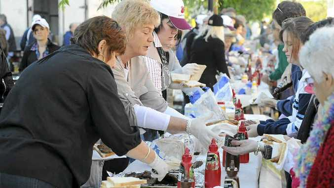 POPULAR: Four thousand sausages were handed out at the Casino Beef Week Butchers' Breakfast.