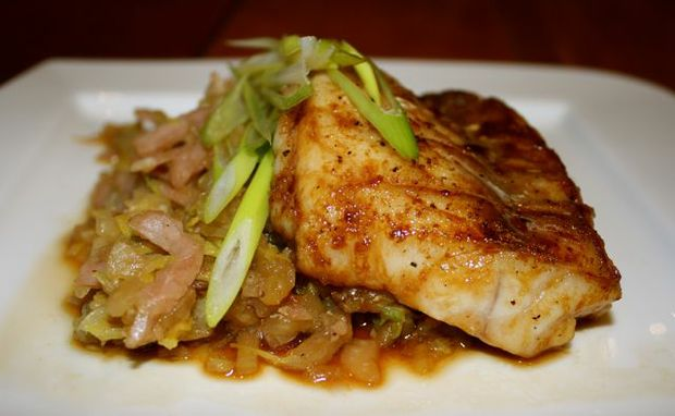 Miss Foodie's fresh and delicious Rock Cod with Warm Asian-slaw.